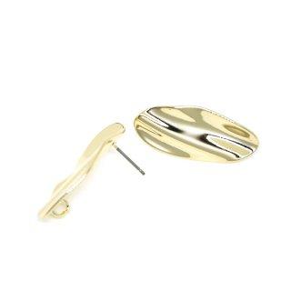 【1ペア】チタン芯!光沢ゴールドスタイリッシュな曲線オーバル形ピアス、パーツ
