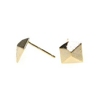 【1ペア】925芯!質感ある立体的なスクエア形ゴールド、シルバー925芯ピアス