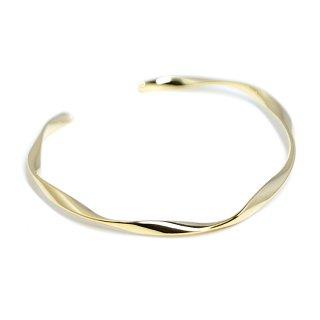 【1個】優美な曲線ツイストの16Kゴールドプレート真鍮製バングル、ブレスレット
