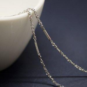 華奢なバー&ツイスト約1.55mm シルバー真鍮チェーン