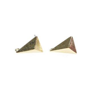 【1ペア】925芯!カン付き!質感ある光沢ゴールド立体的な3Dトライアングル形シルバー925ピアス、パーツ