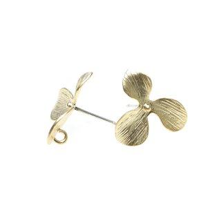 【1ペア】925芯!カン付きマッドゴールド!花びらPetal Flowerシルバー925芯ピアス、パーツ