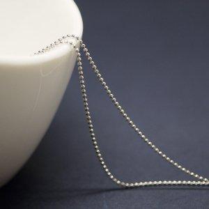 約1mm ボール Ball 純ロジウムシルバー真鍮チェーン