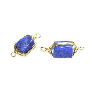 【1個】1点もの!両カン!約19mmラピスラズリ Lapis Lazuli ゴールドチャーム、パーツ