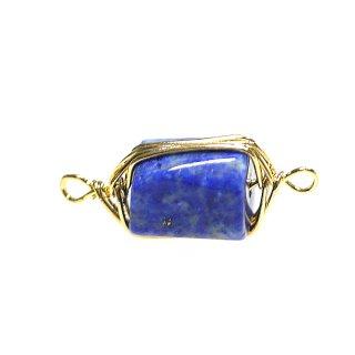 【1個】1点もの!両カン!ラピスラズリ Lapis Lazuli 約20mmゴールドチャーム、パーツ