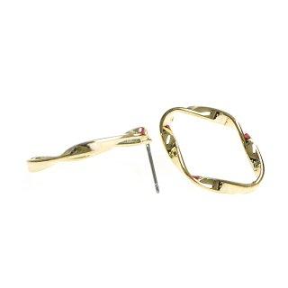 【1ペア】チタン芯!26mmメビウスダイヤモンド形光沢ゴールドピアス、パーツ