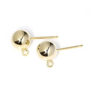 【1ペア】925刻印芯!約10mm光沢ゴールドカン付きCircle Ball シルバー925芯ピアス、パーツ