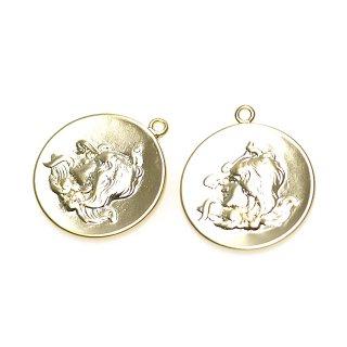 【1個】美の女神Venus(ビーナス )Vintageコインマットゴールドペンダント、チャーム
