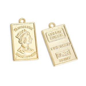 【2個入り】エリザベス ELIZABETH ll FINE GOLD Daintyマットゴールドペンダント、チャーム