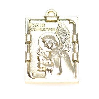 【2個入り】Panis Angelicus 天使の糧 スクエア形マットゴールドペンダント、チャーム