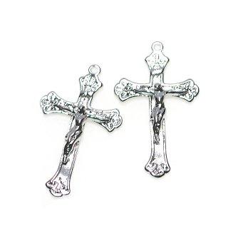 【2個入り】Gothic Jesus Christ クロスシルバーチャーム、パーツ