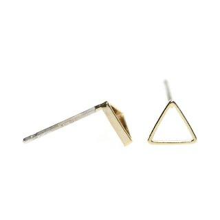 【1ペア】925刻印芯!光沢ゴールド6*1mm 三角形シルバー925芯ピアス、パーツ