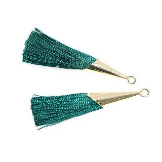 【2個入り】ロイヤルグリーンカラーロング糸タッセル シンプルゴールドキャップ付きチャーム