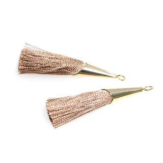 【2個入り】モカブラウンカラーロング糸タッセル シンプルゴールドキャップ付きチャーム