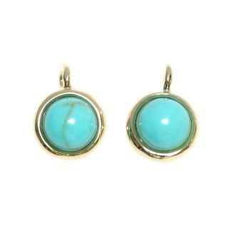 【2個入り】天然石!ターコイズ Turquoise一粒ゴールドチャーム、ペンダント
