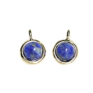 【2個入り】天然石!ラピスラズリLapis Lazuli一粒ゴールドチャーム、ペンダント
