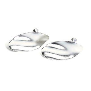 【1ペア】マットシルバースタイリッシュな曲線オーバル形ネジバネ&カン付きイヤリングパーツ