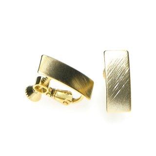 【1ペア】質感ある約7*16mm長方形マットゴールドネジバネイヤリングパーツ