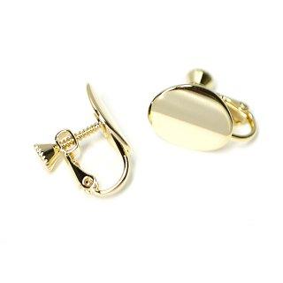 【1ペア】つるんとした楕円形の光沢ゴールドネジバネイヤリングパーツ