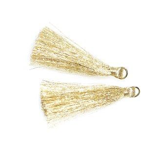 Special【2個入り】Shinny Light Goldライトゴールドカラー約50mm タッセル、チャーム