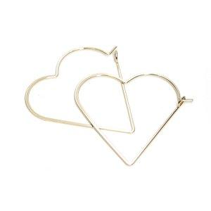 【1ペア】Stylish Heartハートフープゴールドピアス,金具