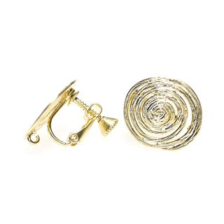 【1ペア】マットゴールド約16mm 渦巻き楕円形ネジバネ&カン付きイヤリングパーツ