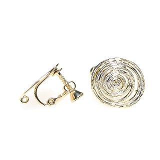 【1ペア】光沢ゴールド約16mm 渦巻き楕円形ネジバネ&カン付きイヤリングパーツ