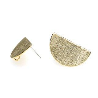 【1ペア】SV925芯!質感ある22*13mm マッドゴールドカン付きHalf Circleシルバー925芯ピアス