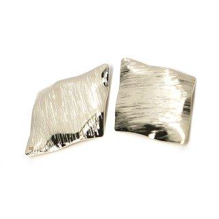【1個】質感あるカーブダイヤモンド形 光沢ゴールドチャーム、ペンダント