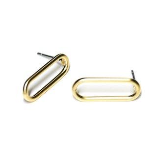 【1ペア】チタン芯!マッドゴールド約21mm Silm Squareピアス