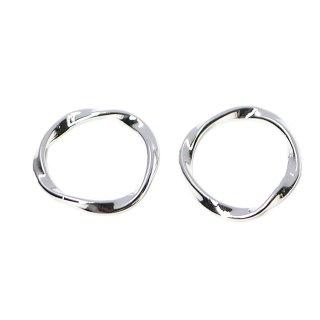 【2個入り】メビウスの輪〜光沢シルバーチャーム、パーツ