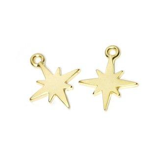 【2個入り】Sparkle Star 星モチーフマットゴールドチャーム、パーツ