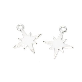 【2個入り】Sparkle Star 星モチーフマットシルバーチャーム、パーツ