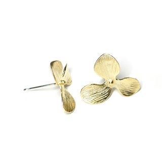 【1ペア】中央に925刻印芯!花びらPetal Flowerマットゴールド、シルバー925芯ピアス、パーツ