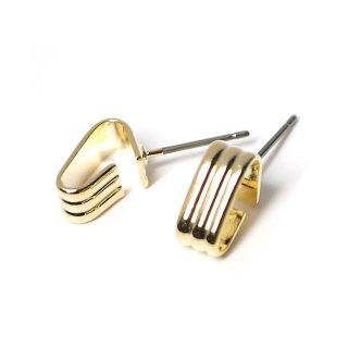 【1ペア】チタン芯!Clip Style 光沢ゴールドチタン芯ピアスパーツ