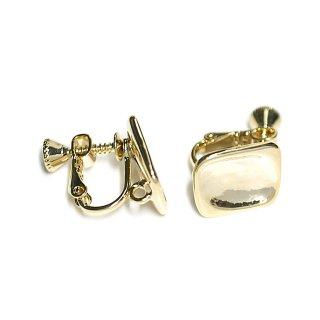 【1ペア】光沢ゴールド!指で押されたようなスクエア形カン&ネジバネ付きイヤリング、パーツ