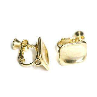 【1ペア】マットゴールド!指で押されたようなスクエア形カン&ネジバネ付きイヤリング、パーツ