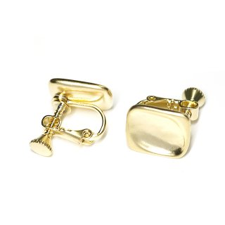 【1ペア】マットゴールド!指で押されたようなスクエア形ネジバネ付きイヤリング、パーツ