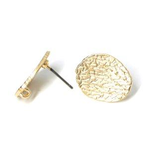 【1ペア】チタン芯!繊細な模様入りの約17mm楕円形マットゴールドカン付きピアス金具