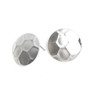 【1ペア】本体に穴&チタン芯!約15mm円形(六角)マットシルバーピアス