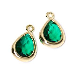 【2個入り】EmeraldカラーガラスTiny Drop形ゴールドチャーム NF