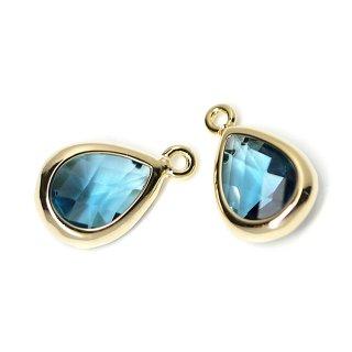 【2個入り】Royal BlueカラーガラスTiny Drop形ゴールドチャーム NF