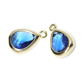 【2個入り】Blue SapphireカラーガラスTiny Drop形ゴールドチャーム NF