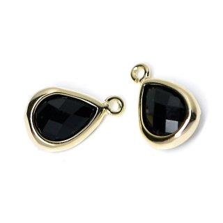 【2個入り】Onyx BlackカラーガラスTiny Drop形ゴールドチャーム NF