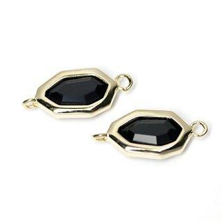 【2個入り】Onyx BlackオニキスブラックカラーGlass不規則な八角形ゴールドコネクター、パーツ