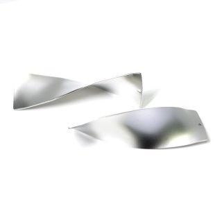 【1個】立体的な3Dデザインの長方形マットシルバーチャーム、パーツ