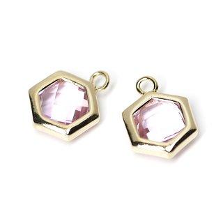 【2個入り】Lavenderカラーガラスヘキサゴン形ゴールドチャーム
