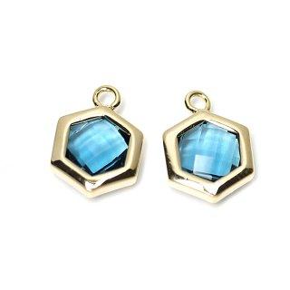 【2個入り】Royal Blueカラーガラスヘキサゴン形ゴールドチャーム