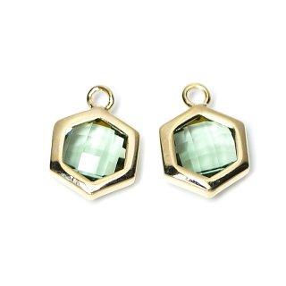 【2個入り】Mint Greenカラーガラスヘキサゴン形ゴールドチャーム
