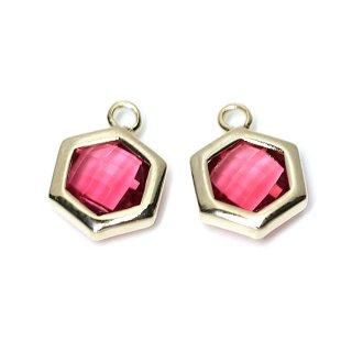 【2個入り】Rubyカラーガラスヘキサゴン形ゴールドチャーム